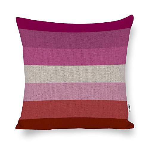 Lesbian Flag Cotton Linen Blend Throw Pillow Covers Case Cushion Pillowcase with Hidden Zipper Closure for Sofa Bench Bed Home Decor 24