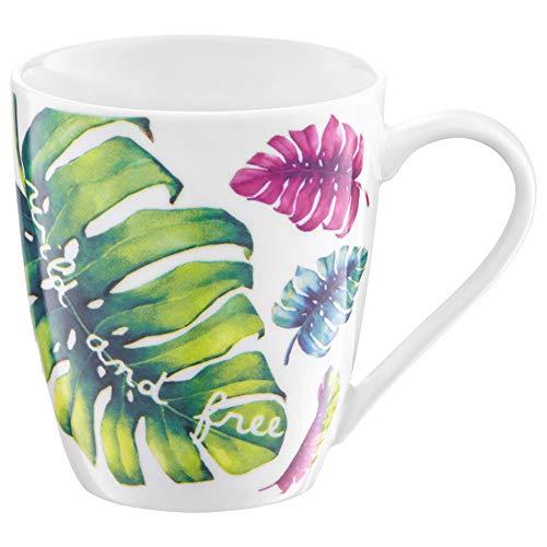AMBITION Tropical - Taza de Porcelana (370 ml), diseño de Hojas, Color Blanco, Verde, Rosa, Azul y Amarillo