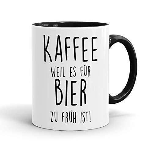 True Statements Lustige Tasse Kaffee weil es für Bier zu früh ist - originelles Geschenk, inner black