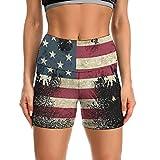 Yiaoflying Yoga Short for Women Eagle American Flag Casual Biker Short High Waist Gym Scrunch Booty Shorts