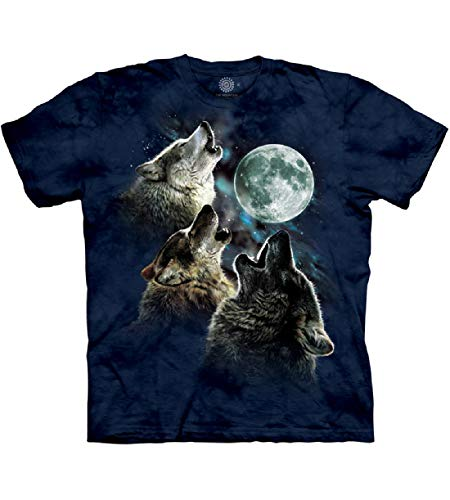 The Mountain Three Wolf Moon In Blue Adult T-Shirt, Blue, Large