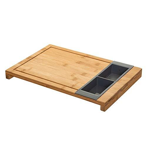 Planche à découper avec 2 bacs amovibles - L 40 x l 27 cm - Bambou