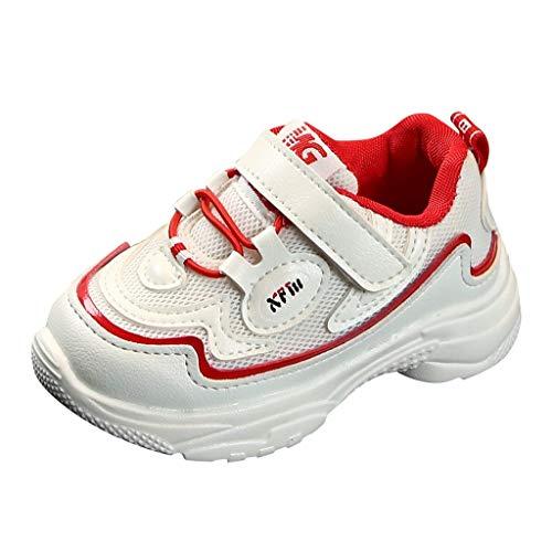 Lazzboy Kinder Baby Mädchen Jungen Mixed Color Sport Run Turnschuhe Freizeitschuhe Bequeme Trekkingschuhe, Strapazierfähige Laufsohle, Knöchelhalt - Für Reisen, Camping Größe 21-30(Rot,25)
