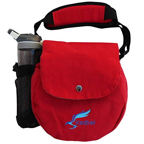 Kestrel Disc Golf Bag | Fits 6-10 Discs + Bottle | for Beginner and Advanced Disc Golf Players | Extremely Durable Canvas | Disc Golf Bag Set | Small Disc Golf Bag (Red)
