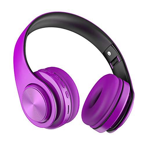 Cuffie Bluetooth Senza Fili Over ear,Wireless Headphones con Stereo Hi-Fi Ricaricabile e Microfono incorporato,Cuffie Pieghevole per Android/Tablet/Telefoni/PC - viola e nero