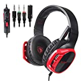 SADES R17 Gaming Headset for PS4 Controller,Xbox One,PC,Laptop,Mac,Tablet,Smartphone,Over Ear Noise-canceling Gaming Headphones with Mic for Nintendo Switch Games(Black&Red)