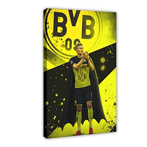 Leinwand-Poster, Motiv: Fußballspieler Erling Haaland, 6 Stück, Wandkunst, Dekordruck, Gemälde für Wohnzimmer, Schlafzimmer, Dekoration, 40 x 60 cm, Rahmen