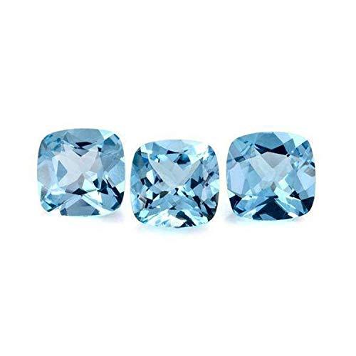 eGemCart Lotto di 10 Pezzi Naturale Topazio Blu Sky 5mm Forma Cuscino Sfaccettato Tagliato Pietra preziosa Sciolta per la creazione di Gioielli | qualità AAA Dimensione calibrata Gemma semipreziosa