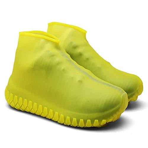 WHSC Cubierta antideslizante para botas de zapatos al aire libre impermeable grueso Overshoes (amarillo M)