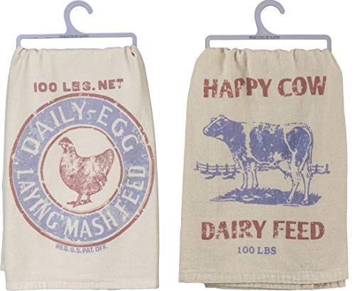 PBK Rustic Farmhouse Themed Kitchen Towel Bundle of 2, Chicken and Cow