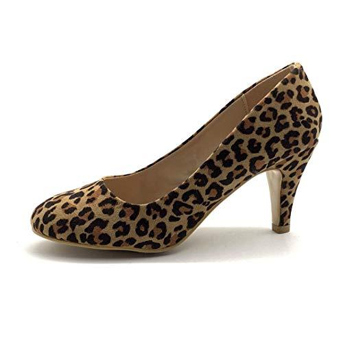 Angkorly - Damen Schuhe Pumpe - Sexy - Abend - Ehe Zeremonie - Tierdruck Animal-Print - Leopardenmuster Blockabsatz high Heel 8 cm - Leopard HM636 T 38