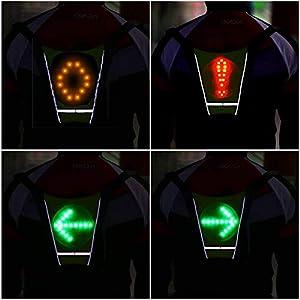 Acutty Chaleco de luz Intermitente LED para Bicicleta (inalámbrico, para Viajes Nocturnos) Amarillo Bicicleta de Ciclismo Luz LED Inalámbrica Giro de Seguridad Luz de Señalización Chaleco
