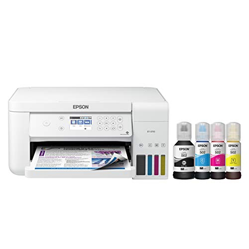 Epson EcoTank ET-3710 Wireless Color All-in-One Cartridge-Free Supertank Printer with Scanner, Copier and Ethernet, Works with Alexa