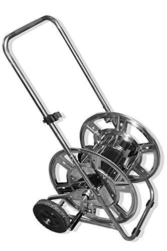 Caleido-Concept Schlauchwagen Schlauchabroller Gartenschlauchwagen GS 50 INOX Edelstahl Metall silbern ½ bis ¾, 80 bis 50 Meter