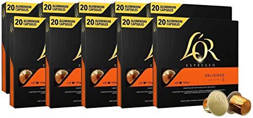 L'OR Café Espresso Delizioso Intensité 5 - Capsules de café en aluminium compatibles avec Nespresso® * - 10 paquets de 20 capsules (200 boissons)