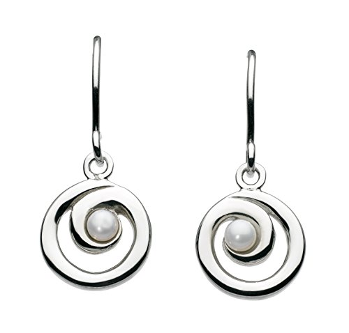 Dew Women's Sterling Silver Freshwater Pearl Spiral Drop Earrings