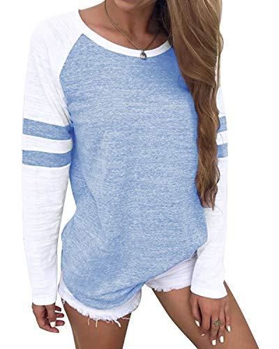 YOINS Pulli Damen Langarmshirt Sweatshirt mit Streifen Rundhals Ausschnitt Oversize Hemd Jumper Bluse Tops Kamouflage EU96