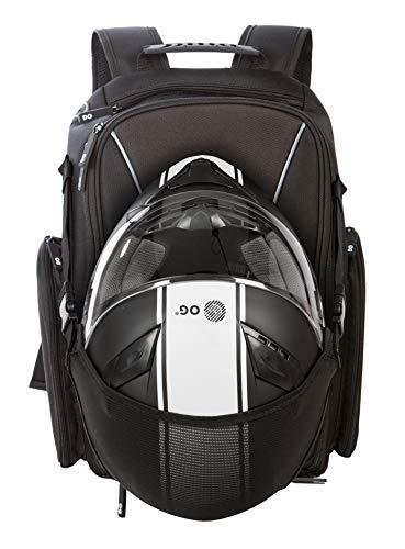 OG Online&Go Motorrad-Rucksack GO Schwarz Wasserdicht, 20L, Motorradhelm-Tasche, Helm-Trageriemen, Biking, Mann, Laptop-Fach, Reflektierend, Anti-Diebstahl