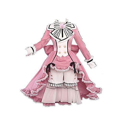 9 PCS/Set Anime Black Butler Ciel Phantomhive Cosplay Costume Halloween Carnaval Rose Lolita Robe Costumes avec Accessoires Haute Qualité pour Les Femmes Cadeau