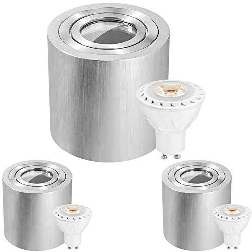3er IP44 LED Aufbaustrahler Set Alu gebŸrstet Tauschbares Leuchtmittel 7W warmweiss Feuchtraum Badezimmer LED Aufbauleuchte