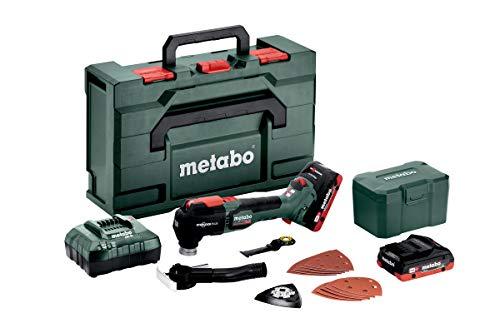 Metabo Multitool MT 18 LTX BL QSL 2 Akku 4 Ah, Schwingzahl 8000 – 20000 /min, inkl. Sägeblätter, Schleifblätter, mit Kunststoff-Box 613088800