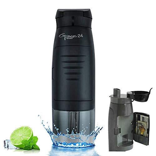 Botella de agua para deporte, gimnasio, gimnasio, gimnasio, universidad, escuela, bicicleta, exterior, 750 ml, botella de agua con compartimento para dinero, tarjetas, llaves, sin BPA negro