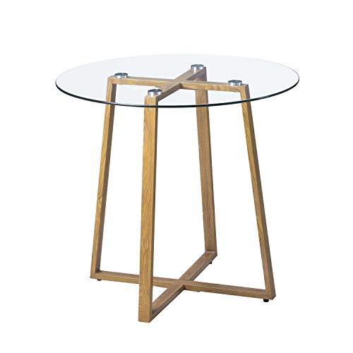 H.J WeDoo Tavolo da Pranzo in Vetro, Tavolo Cucina Rotondo Stile Nordico, Moderne Gambe in Acciaio Stilizzato con Stampa Legno, 80 x 75 cm