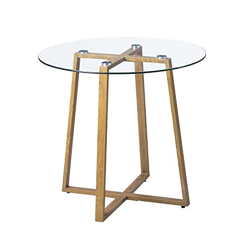 H.J WeDoo Dining Table Round Clear Glass Table Modern Style Table for Kitchen Dining Room Coffee Table with Metal Legs Wooden Grain Finish, Round 80 * 75 cm