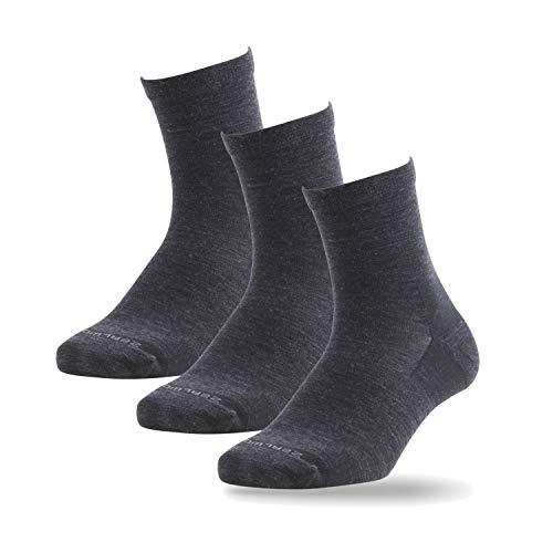 ZEALWOOD Calcetines deportivos de lana de merino, para hombre y mujer, acolchados, antiblíster, pack de 3 Negro3 43-46