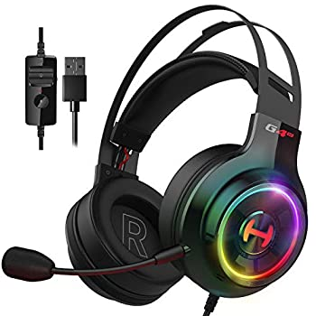 Edifier G4 TE Gaming Headset for PC PS4 7.1 Surround Sound Gaming Headphones with Noise Canceling Microphone USB Over-Ear Headphone Wired with RGB Light 50mm Driver for PC Mac Laptop,Black
