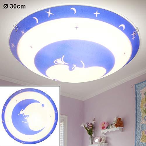 Wand Decken Lampe Kinder Zimmer Mond Nacht Sternen Himmel Glas Leuchte im Set inkl. LED Leuchtmittel