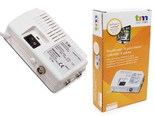 TM Electron tmamp001–Amplificateur d'antenne TV pour intérieur UHF/VHF avec 2Sorties, Blanc
