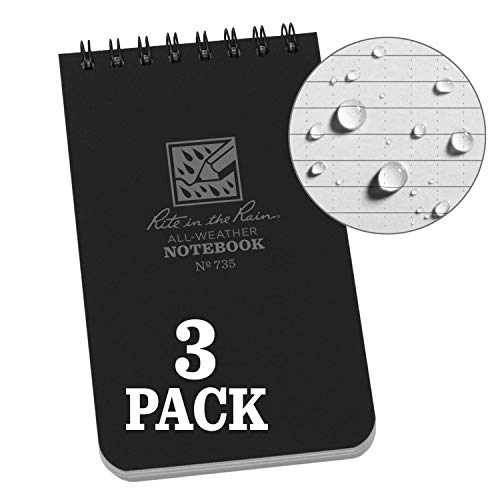 """Rite in the Rain Weatherproof Top-Spiral Notebook, 3"""" x 5"""", Black Cover, Universal Pattern, 3 Pack (No. 735-3)"""