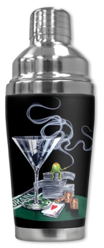 "Mugzie ""Michael Godard: It's all About Insurance"" Cocktail Shaker with Insulated Wetsuit Cover, 16 oz, Black"