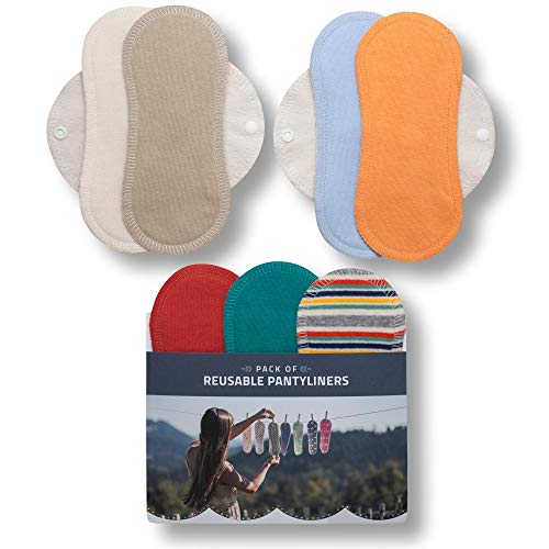 Protège-slips lavables, lot de 7 en coton BIO; lingettes réutilisables avec les ailes FABRIQUÉES EN UE; liners pour la décharge vaginale et la propreté quotidienne; serviettes hygiénique en tissu