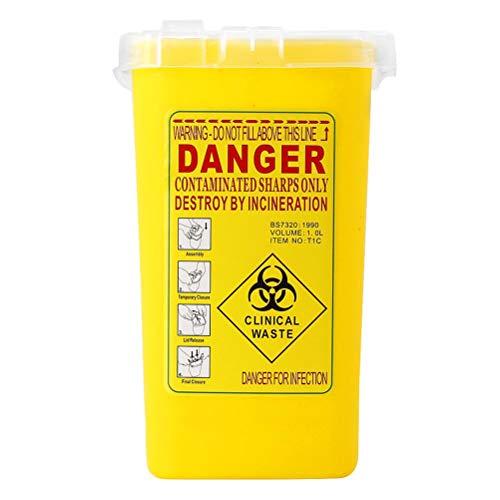 SUPVOX Spritzen Eimer Sharps Container Box Abfalleimer Nadelentsorgungsbehälter mit Deckel für Tattoo Medical (Gelb)