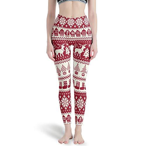 Zerosubsidi Christmas Deer Womens Workout Leggings Workout Yoga Pants Summer for Gym Jogging White 4XL