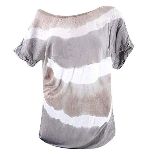 Damen Bluse Streifen T-Shirt Casual Shirt Elegant Pullover Kurzarm hemdbluse Tunika Oberteile Rundhals Tops Mode Oberteile Lose Hemd Sommer Slim Stylische Sweatshirt Baumwolle Tank-Tops