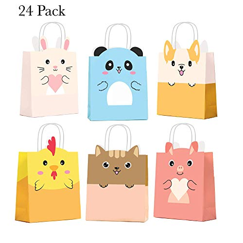 NIMU 24 Pack Animal Farm Party Bag with Cute Panda and Friends, All in One Package Ideal for Birthday Gifts and Party Favours Multi-use for Girls Boys Kids Party Supplies Prime
