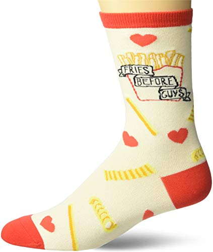 K. Bell Women's Fun with Words Novelty Saying Crew Socks, Ivory (Fries Before Guys), Shoe Size: 4-10