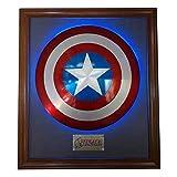 Escudo de Capitán América de Aleación de Aluminio con Marco Trasero Control Remoto Luz Colgante de Pared Decoración Cosplay Superhéroe Retro Disfraz Escudo Accesorio 24 Pulgadas