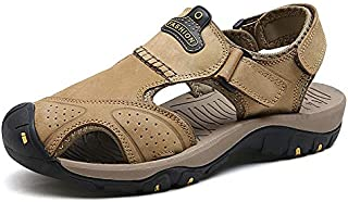 LSWL New Male Shoes Genuine Leather Men Sandals Summer Men Shoes Beach Sandals Man Fashion Outdoor Casual Sneakers Size 48 (Color : 7238 KHAKI, Shoe Size : 48)