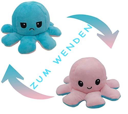 Flyhigh Niedliches Oktopus Plüschtier zum Wenden - Neuster Trend 2021 Reversibles Octupus Spielzeug Kuscheltier (Babayblau-Rosa)