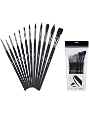 ARTIFY 12 pcs Watercolor Paint Brushes Premium Nylon Hair Paint Brushes for Oil Painting Acrylic Painting for Kids and Adults, Beginner and Artist, Figger Round Flat Cat's Tongue Shape, Black