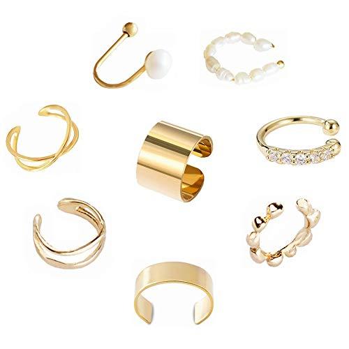 Kiwochy 8pcs Ear Cuff Non Piercing Pendientes Cartílago Perlas Cartílago Aro de oreja Moda Cartílago Pendiente Ear Cuff No piercing Clip para mujeres niñas Oro