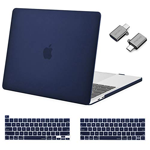 MOSISO MacBook Pro 13 inch Case 2020 2019 2018 2017 2016 Release A2289 A2251 A2159 A1989 A1706 A1708,Plastic Hard Shell&Keyboard Cover&Type C Adapter Compatible with MacBook Pro 13 inch, Navy Blue