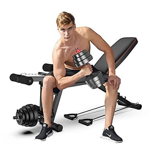 WEDSFC Multifunktions-Hantelbank, Workout Bank Mit Beinstrecker Und Beinbeuger, Sit Up Neigung Abs Bank, Home Gym Adjustable Fitness Bench Schwarz