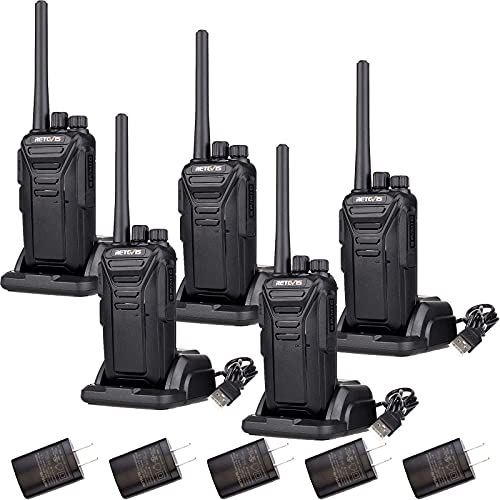 Retevis RT27 Walkie Talkies for Adults,Rugged 2 Way Radio Rechargeable,VOX Hands Free Emergency Alert Heavy Duty,Portable FRS Two-way Radios,for Healthcare,Education,Government(5 Pack)