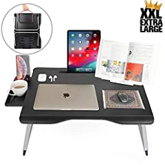 "FOLDING LAPTOP TABLE FOR BED AND SOFA - Multi-functional computer table for couch, bed laptop desk for lap, laptop bed tray for working, gaming, studying, writing, eating. Fits 11-17"" laptop computers LARGE, STABLE, PORTABLE FOLDING TABLE - Aluminum ..."