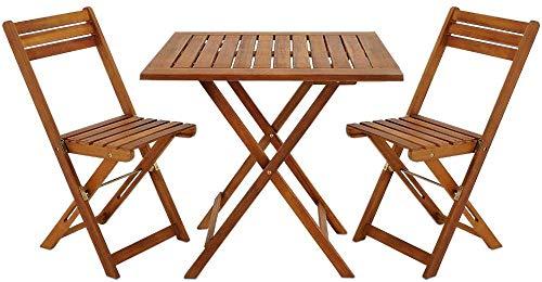 Madera Suite de mesas y sillas balcón acristalado Acacia terraza jardín al Aire Libre Bistro cafetería café Muebles Plegables,Brown